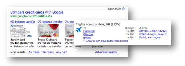 Google credit cards, flights