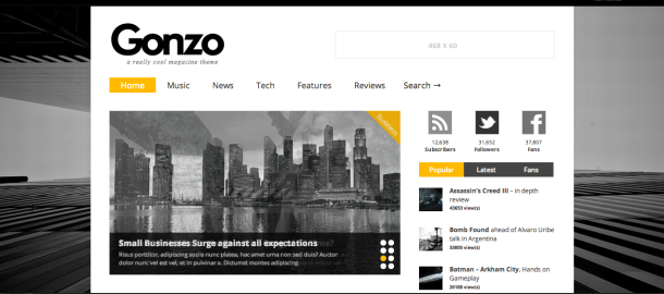 Gonzo premium wordpress theme