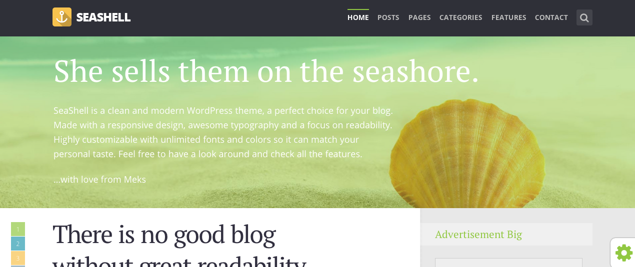 Seashell WordPress paid theme