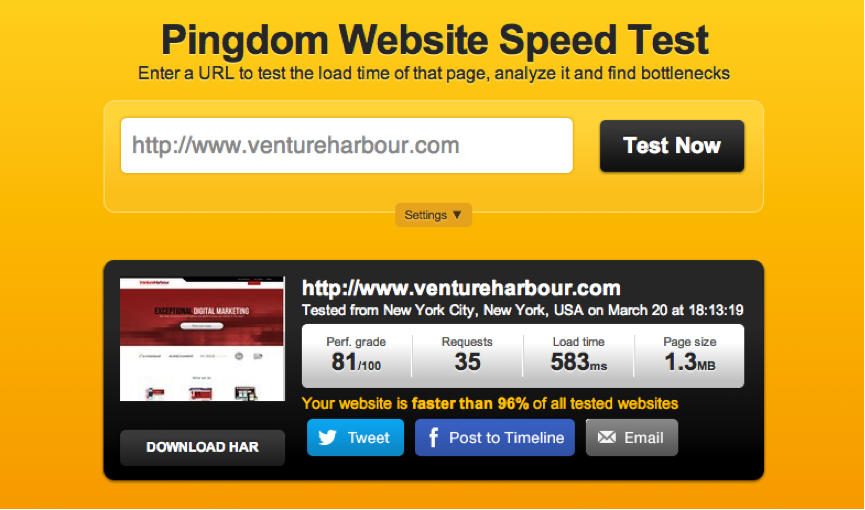 Page speed after