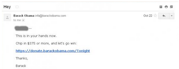 Hey email from Obama