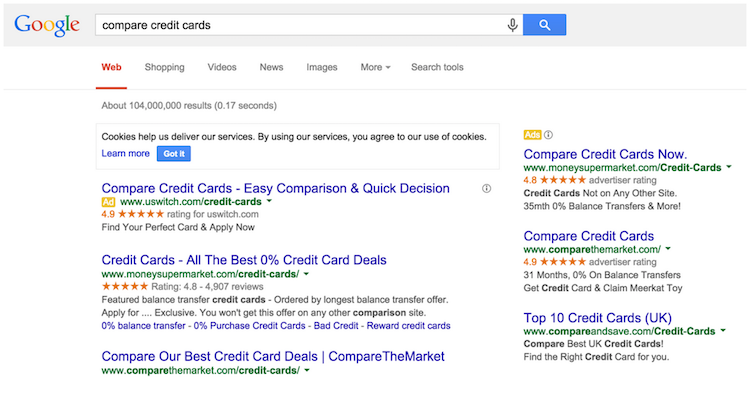 Compare Credit Cards serps