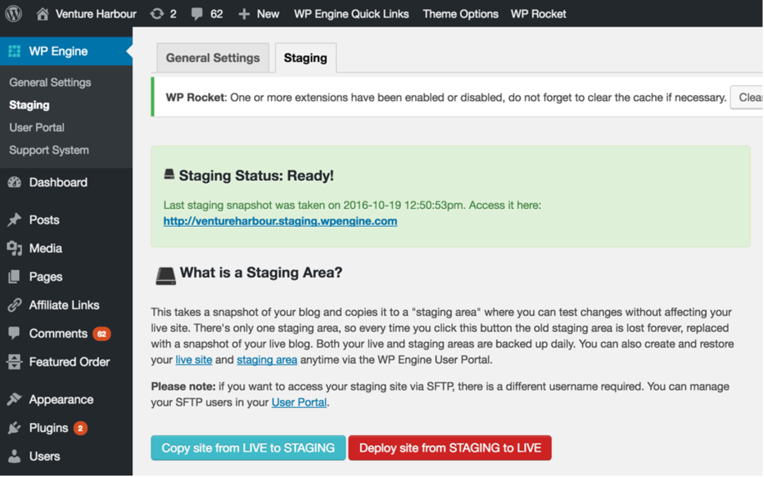WP Engine staging sites