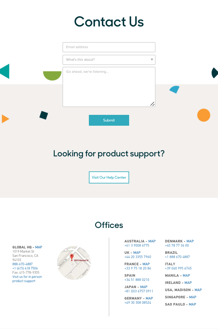 Contact Page That Also Provides A Dedicated Section For Product Support Without Any Of The Clutter You Find On Some Pages Try To Cram Too Much In