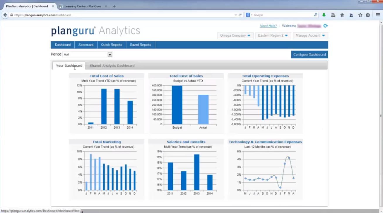 PlanGuru financial dashboard